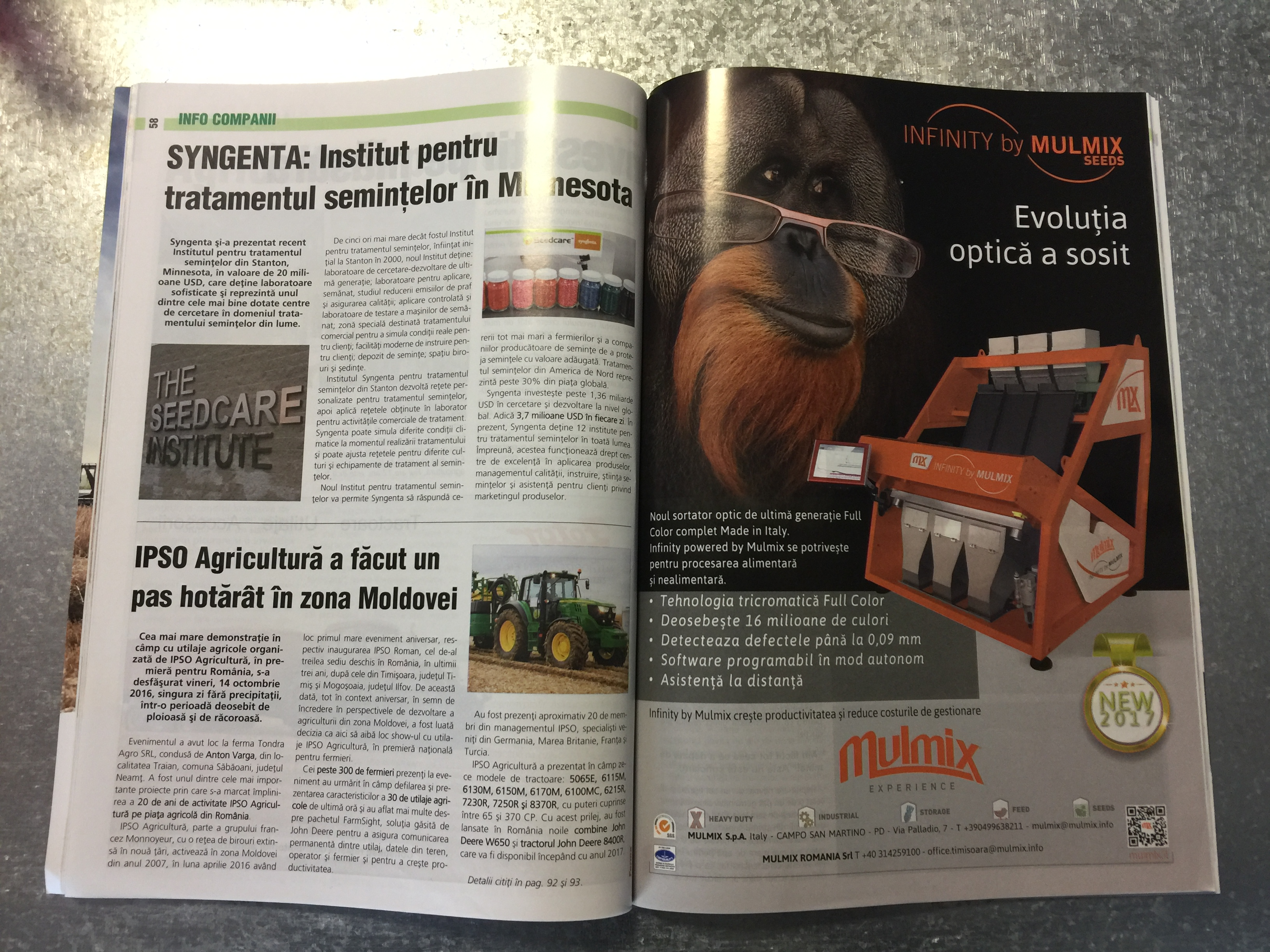 We are glad to present as a preview on Ferma magazine Romania, the new optical sorter Infinity by Mulmix